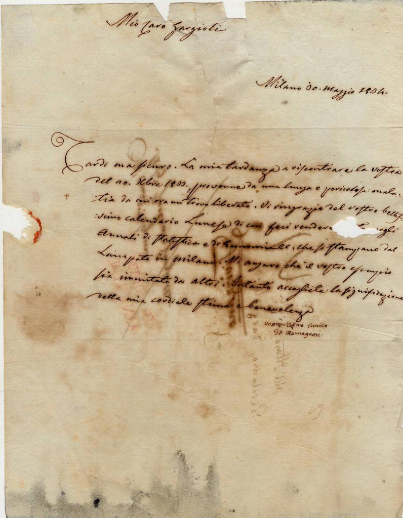 Calendario Fisico.Autografo Di Gian Domenico Romagnosi Fisico Filosofo