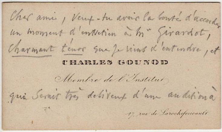 Autografo di Charles Gounod Biglietto Compositore Musicista
